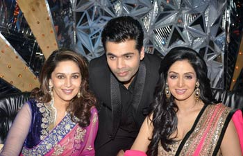 Sridevi, Madhuri Dixit and Karan Johar