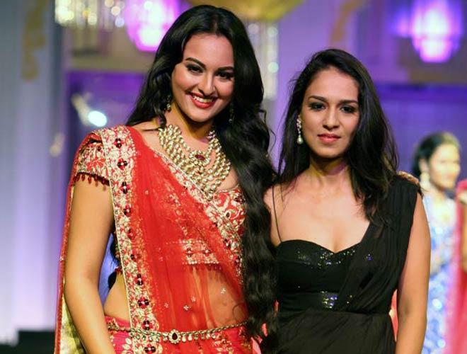 Sonakshi Sinha with designer Jyotsna Tiwari on Day 2 of India Bridal Fashion Week 2012