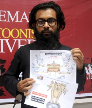 Mumbai Press club organises a protest against cartoonist Aseem Trivedi's arrest