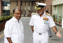 Defence Minister A.K. Antony attends the Naval Commanders' Conference in New Delhi on Thrsday, October 18, 2012.