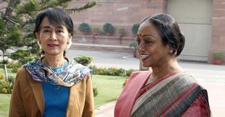 Aung San Suu Kyi with Meira Kumar