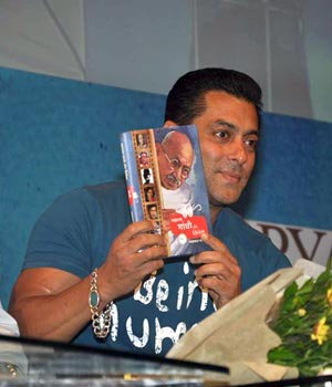 Salman launches book Mahatma Gandhi and Cinema