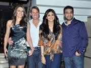 Shane Warne, Liz Hurley at Shilpa's bash