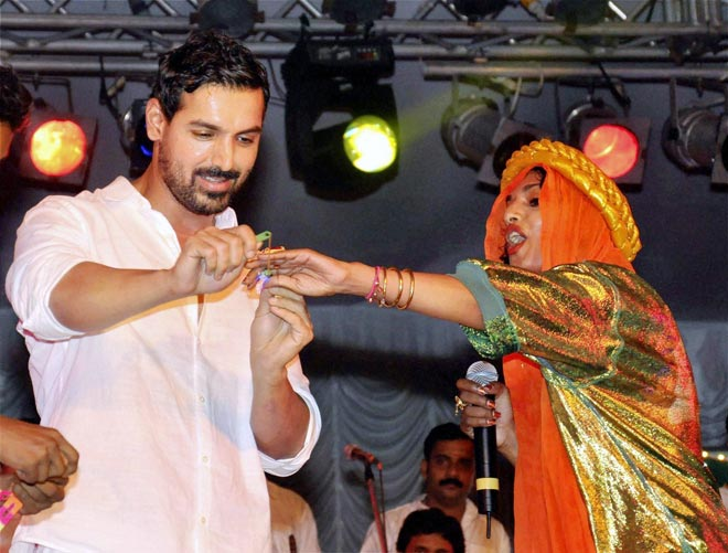 Bollywood actor with artist M.I.A