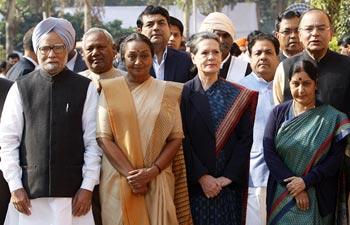 Manmohan Singh, Meira Kumar, Sonia Gandhi, Sushma Swaraj