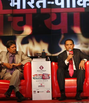 Kapil Dev, Md Azharuddin, and Sourav Ganguly at Agenda Aaj Tak