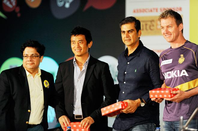 (From Left) Baichung Bhutia, Nikhil Chopra and Brett lee