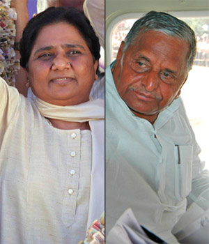 (Clockwise from L) Mayawati, Mulayam Singh Yadav, Nitish Kumar and Chandrababu Naidu