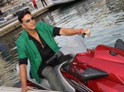 Boss Akshay Kumar drives down on jet ski for media meet