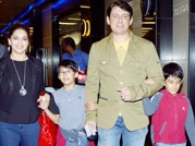 Madhuri and family all smiles on return from Dubai