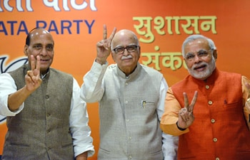 Rajnath Singh, LK Advani and Narendra Modi