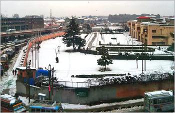 Snowfall in Kashmir valley.