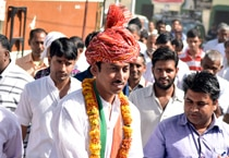 Rajyavardhan Singh Rathore during election campaign