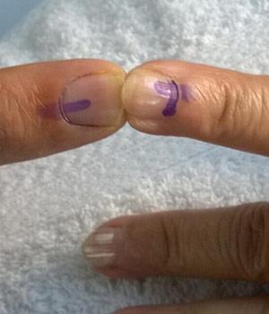 Voter's finger
