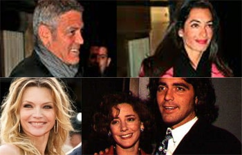 Collage of George Clooney and his girlfriends.