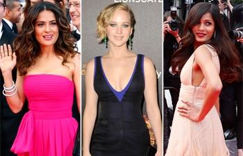 Frieda Pinto, Salma Hayek, Jennifer Lawrence