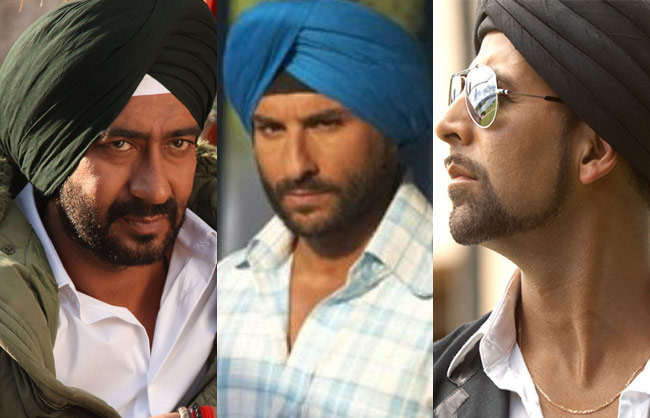 Collage of celebs wearing turban on-screen