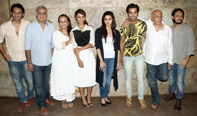 The cast and crew of Citylights with the Bhatt clan