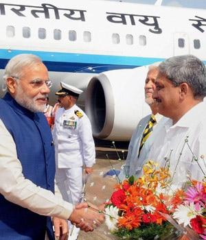 Prime Minister Narendra Modi with Goa Chief Minister Manohar Parrikar