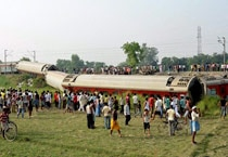 In Pics: Delhi-Dibrugarh Rajdhani Express gets derailed in Bihar