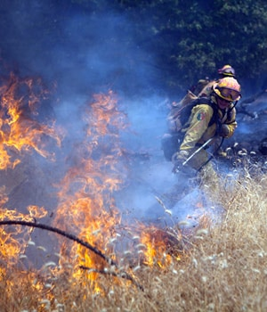 Members of the CAL Fire Vina Helitack crew battle a spot fire as the fast-moving wildfire called Sand Fire burns near Plymouth, California.