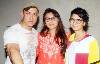 Aamir Khan along with wife Kiran Rao and daughter Ira attended a special screening of Rani Mukerji's film Mardaani.