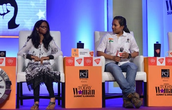 Acid attack victim Laxmi and India's first amputee to climb Mount Everest Arunima Sinha.