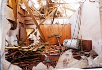 The collapsed roof of a house that was struck by a rocket, fired from Gaza.
