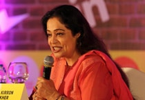 Kirron Kher speaks at the India Today Mind Rocks Youth Summit 2014 being held in Chandigarh.