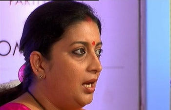 Union Human Resource Development Minister Smriti Irani choked on stage at the India Today Woman Summit.