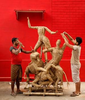 Goddess Durga in making