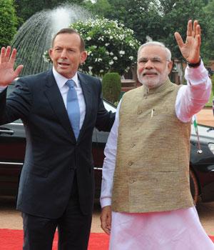 Tony Abbott with Narendra Modi