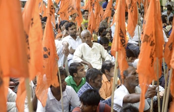 Members of Hindu organisation United Hindu Front protested against 'love jihad' at New Delhi's Jantar Mantar on September 23.