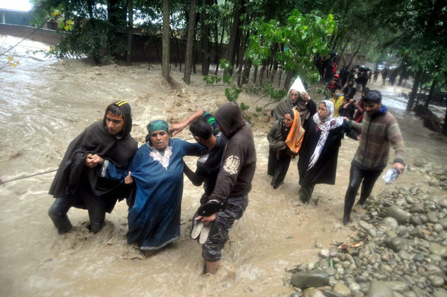 Many families were rescued by police when they were trapped in flood in Birigam in Kulgam district.