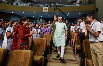 On Teacher's day, Prime Minister Narendra Modi addressed and interacted with a large gathering of school students at the Manekshaw Centre in New Delhi.