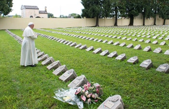 Pope Francis during his visit to the Austro-Hungarian cemetery in Fogliano Redipuglia, northern Italy