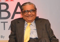 Aroon Purie and Jagdish Bhagwati at India Today Global Roundtable