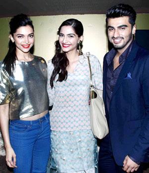 Deepika, Sonam and Arjun Kapoor