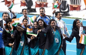India contingent during the closing ceremony of the 17th Asian Games in Incheon, South Korea on Saturday.