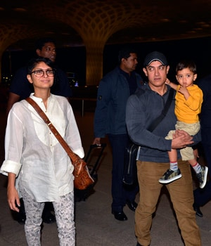Aamir Khan with his wife Kiran and son Azad.