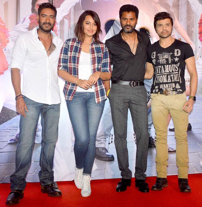 Ajay Devgn, Sonakshi Sinha, Prabhu Deva with Himesh