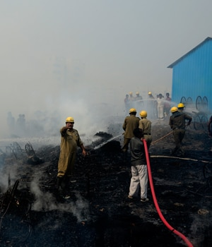 A fire broke out at a slum area.