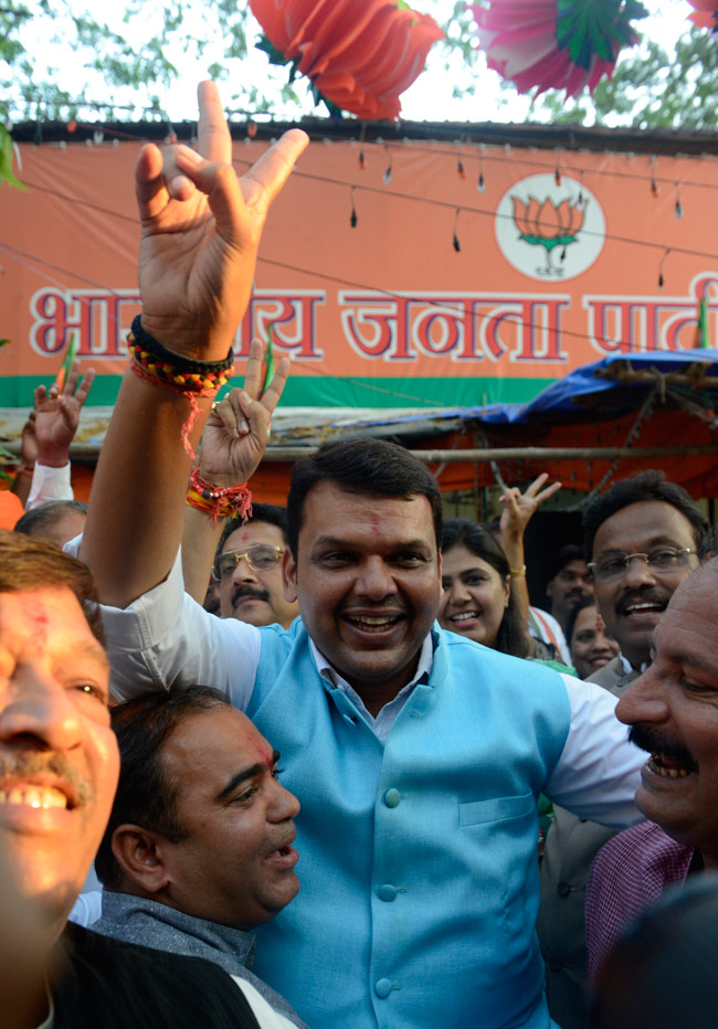 Maharashtra polls results: Celebrations at BJP office in Mumbai