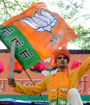 BJP supporters celebrate partys win in Mumbai