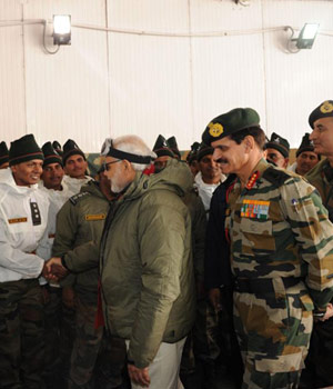 PM Modi meets soldiers in Siachen