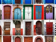 A combination photo shows some of the colourful doors seen in Rabat's Medina and Kasbah of the Udayas.