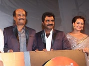 Rajinikanth, Sonakshi Sinha attend Lingaa's music launch