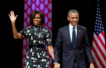 US first lady Michelle Obama travelled to New Delhi with the American President Barack Obama on his three day visit to India before stopping in Saudi Arabia to pay his respects to King Salman on his way back to Washington.