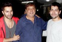 David Dhawan and Rohit Dhawan join Varun at the screening of Badlapur