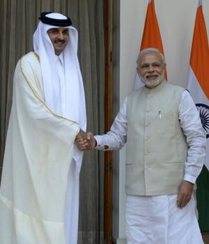 Emir of Qatar Tamim Bin Hamad Al Thani with Prime Minister Narendra Modi